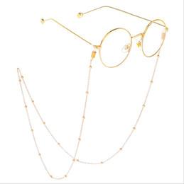 Beads long chains online shopping - Women Men fashion Eyeglasses chains metal Eyewear Accessories CM Hollow Bead long Sunglasses chain