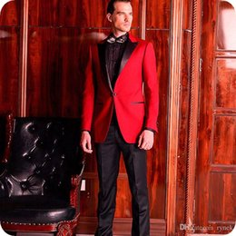 $enCountryForm.capitalKeyWord Australia - Custom Made Red Men Suits for Wedding Groom Tuxedo Black Peaked Lapel Man Blazer Jacket 2Piece Classic Fit Terno Masculino Costume Homme