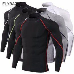 $enCountryForm.capitalKeyWord NZ - Super Elastic Quick Dry Gym Running T Shirt Men Bodybuilding Sportswear T-shirt Long Sleeve Compression Top Men's Fitness Tight