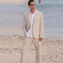 $enCountryForm.capitalKeyWord Australia - 2019 Fashion Men Suits Beige Linen Blazer Custom Made Tailored Groom Bespoke Wedding Suits For Man Tuxedos Beach Prom Casual Jacket+Pants