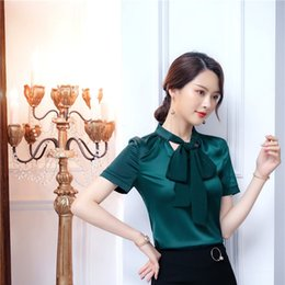 39f022b64629c Fashion Blackish Green Casual Short Sleeve Women Blouses   Shirts Ladies  Office Work Wear Tops Clothes 2019 Summer OL Styles