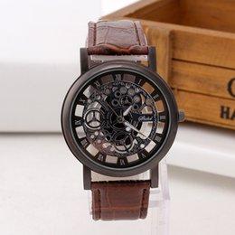 $enCountryForm.capitalKeyWord NZ - Fashion Mens Watches Hollow Skeleton Quartz Watch Men Casual Slim Leather Watch Male Wristwatch Relogio Masculino Relojes Hombre