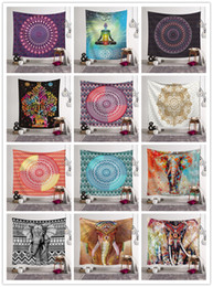 ElEphant dEcorations homE online shopping - 150 CM Bohemian Mandala Tapestry Beach Towel Designs Hippie Throw Yoga Mat Indian Elephant Polyester Shawl Bath Towel Home Decoration