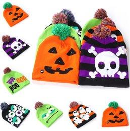 $enCountryForm.capitalKeyWord Australia - New Led Halloween Knitted Hats Kids Baby Moms Warm Beanies Crochet Winter Caps For Pumpkin Acrylic skull cap party decor gift props 5125