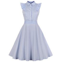 616c5f649 Kenancy 1960s Audrey Hepburn Swing Rockabilly Vintage Dress Plus Size Blue  Stripe Print Ruffles Retro Dress Party Vestidos 4xl Y19051102