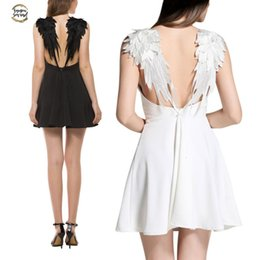 angel wing dresses Australia - Casual White Sexy Backless Dresses Summer Black Slim Lace Angel Wings Dress Women Spaghetti Strap Vestidos L2