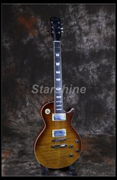 Neck Guitar Ebony Australia - Starshine Electric Guitar CC-GLP80 Ebony ,1Piece Body&Neck Alnico Pickups ABR Bridge Cream Binding Metal Knobs Tobacco Color