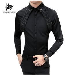 Designer Black Shirts For Men Australia - Evening Dress 2019 New Designer Wedding Shirts For Men Fashion Social Club Party Black White Dress Shirts Smoking Long Sleeve