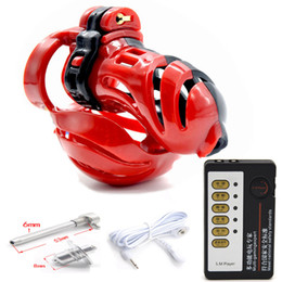 $enCountryForm.capitalKeyWord Australia - 3D Design Male Chastity Device,Ball Stretcher, Penis Ring,Electro Shock Scrotum Penis Plug,Cage Cock,Electric Sex Toys For Men