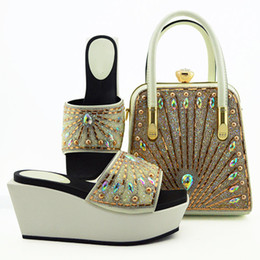 Colorful Rhinestone Wedding Dresses Australia - Hot sale white women boat shoes match handbag set with colorful rhinestone decoration african pumps and bag for dress MD009,heel 9CM