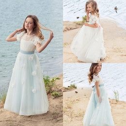 White Communion Dresses Short Australia - Beach White Flower Girls Dresses For Weddings Short Sleeves Lace Hand Made Flower Ruffles Satin Girls Pageant Dress First Communion Dress