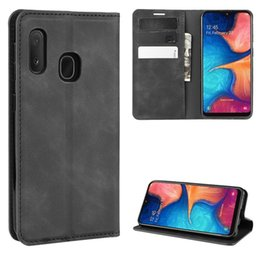 business card holder magnetic Australia - For Galaxy A20e Retro-skin Business Magnetic Suction Leather Case with Holder & Card Slots & Wallet