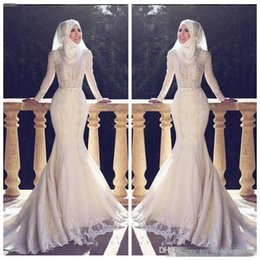 dfa025ed5d0 2019 Modest Muslim Fishtail Arabic Style Mermaid Wedding Dresses Long Sleeves  Lace Applique O Neck Hijab Mermaid Long Bridal Gowns Muslim