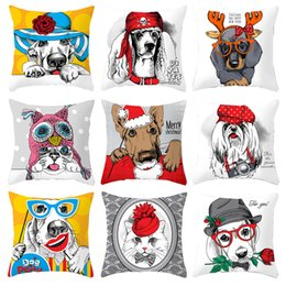 $enCountryForm.capitalKeyWord Australia - Christmas Dachshund Dog Cushion Covers Cartoon Dog Cosplay Party Rose Flower Watercolor Painting Pillow Cases 44X44cm Sofa Chair Decoration