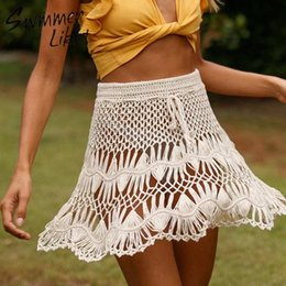 crochet bikini dress NZ - Fashion crochet beach wear dress women Sexy keyhole bikini 2020 High waist swimsuit female swimwear women Knee beach cover up
