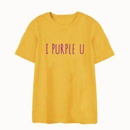 e9fc12db11 Okoufen Korean Style Kpop Streetwear I Purple U T Shirt Funny Cute Fashion  Unisex Letter Print O-neck Tee T-shirt Plus Size Y19051301