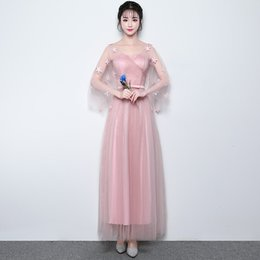 Chinese  Ball Gown Floor-length Applique Formal Juniors Bridesmaid Dresses for Women Girls Long Mesh Pink Prom Party Holiday Gowns Performance Show manufacturers