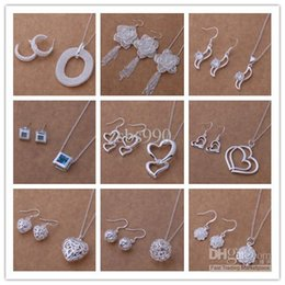 Sending Gifts Australia - Mixed Fashion Jewelry Set 925 Silver necklace & earrings for women to send his girlfriend   wife gifts free shipping 9set lot