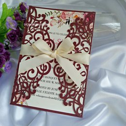 Wholesale Elegant Burgundy Laser Cut Invitations Cards with Beige Ribbons For Wedding Quince Sweet th Birthday Party Wedding Invitations