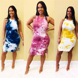 clothing for beach party 2019 - Summer Tie-dyed Sleeveless Dress for Women Side Lace Up Bodycon Tank Vest Dresses Skinny Tight Skirt Party Club Dress Cl