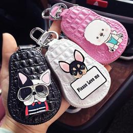 Dog Zipper Australia - Lovely Dogs Key Chain Poodle Chihuahua Bulldog Car Key Packet Leather Keychain Women Girls Keychain Covers Zipper Key Case Bag