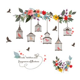 $enCountryForm.capitalKeyWord Australia - Removable wall stickers for wall decoration murals on TV background of popular flower rattan and bird cage