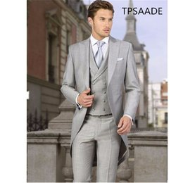 Wedding Vest Pink Australia - Light Grey Tailcoat Men Suits Peaked Lapel Terno Masculino Mens Suit Morning Suits Wedding Party Men Suit Jacket+Vest+Pant