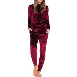 $enCountryForm.capitalKeyWord UK - Velvet Women Sets Fashion Long Sleeve Bodycon Slim Sweat Suits Hoodies Tracksuit Sweatshirt Two Piece Trousers