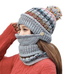 Crochet Ski Mask Australia - Fashion 2pcs Womens Crochet Knitted Woolly Hat With Scarf Mask Beanie Warm Fleece Ski Cap Womens Knitted Cap Warm Winter Hat 10