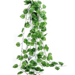 vines leaf UK - Artificial Ivy Garland Plants Vine Fake Foliage Green Watermelon Leaf Rattan Plant Wedding Home Garden Decoration C19041702