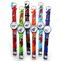 Wholesale 3D Cartoon spiderman Watches Anime Spider Man Watch Children Students Spider man Wristwatches PU Leather Quartz Wrist Watches for Kids best