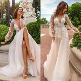 Purple Wedding Dresses Pictures Australia - Champagne Lace Appliques Wedding Dresses 2019 Summer Deep V Neck See Through Back With Button Handmade Flowers Sweep Train Bridal Gowns