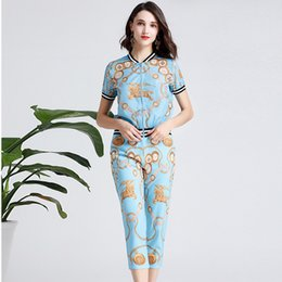 Seven Point Pants Australia - 2019 Summer New Print Baseball Suit Jacket Seven-point Pants Two-piece Set