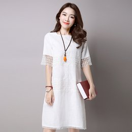 $enCountryForm.capitalKeyWord Australia - Summer Women Dress White Grey Colour O Neck Short Cotton Linen A Line Dress Hollow Vintage Dress Size S -2xl Y19071001