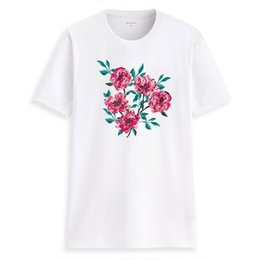 $enCountryForm.capitalKeyWord UK - Hillbilly Cmk346 Chinese Style Oil Painting Floral Print Solid Color Ladies T-shirt New Ladies Cotton Round Neck Slim T-shirt