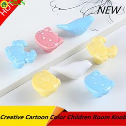Cartoon Blue Color Australia - Creative Fashion Cartoon Color Bird Pig Cat Crab Children Room Drawer Shoe Cabinet Knob Blue Yellow Pink White Ceramic Pull