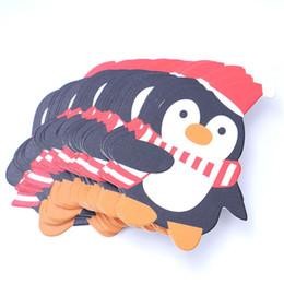 Christmas lollipop Candy online shopping - 50PCS Kids Santa Claus Penguin Lollipop Christmas Paper Card Candy Xmas Good Natal Decorations For Home