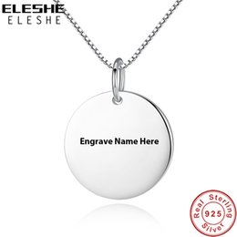 sterling silver name necklace Australia - ELESHE New Customized Round Shape Necklace Engrave Name Pendant Necklace 925 Sterling Silver Jewelry For Women Men Couple