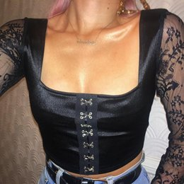 1e9f472499 womens t shirt 2019 spring new sexy lace belted clothing fashion buckle  button crop tops tight tube top clothes