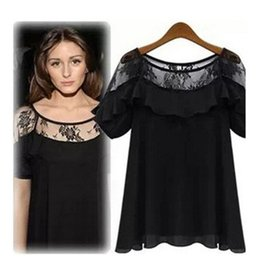 Discount womens short sleeve lace tops - Womens Designer T Shirts 2019 Summer New Fashion Lace Short Sleeve Sexy Solid Color Top Loose Perspective Tees Womens Cl