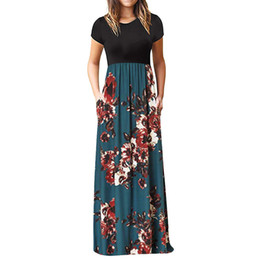 Discount summer maxi dress pink Midi Dress Women's Casual Sleeve O-neck Print Maxi Vestidos Tank Long Dress Tropical Beach Vintage Maxi Women'S Dresses#30