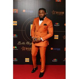 $enCountryForm.capitalKeyWord NZ - 2019 Brand New Orange Groom Tuxedos Double Breasted Wedding Suits Tailored Man's Party Suits Best Man Blazer (Jacket+Pants+Bow)