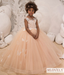 kids pageant evening dresses Australia - Cute Ball Gown Kids Pageant Dress Kids Celebrity Evening Birthday Party with butterfly Details for Girls