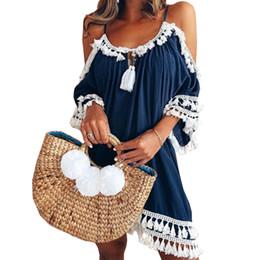 Sundress Short Sleeves Australia - Female Spaghetti Strap Boho Dress Plus Size 5XL Summer Loose Beach Sundress Backless Short Sleeve Tassel Women Dresses GV130 Q190425