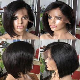 Style Hair Cuts Australia - Short Cut Bob Lace Front Wigs Style For Black Women Cheap Raw Indian Virgin Hair Bob Human Hair Wigs 130% 150% Density Natural