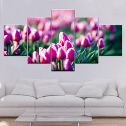 pics oil NZ - Fuchsia Flowers Canvas Painting Modern Abstract Large 5 Pics Canvas Loving Room Wall Art Oil Decor Picture Set For Home Artwork