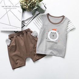 Bear Christmas Suit Australia - INS Baby Boys Cartoon Outfits Summer Kids Bear Stripe Short Sleeve T-shirt + animal Ear Shorts 2pcs Suits Cute Children Clothing Sets Y1624
