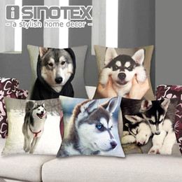 $enCountryForm.capitalKeyWord Australia - ome Textile Cushion Cover Cushion Cover Husky 43X43cm Linen Decorative Pillows Cute Dog Printed Pillow Cases Pillowcase Gift Bedroom Sofa...