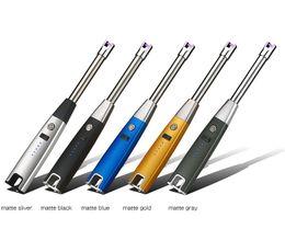 $enCountryForm.capitalKeyWord Australia - Long BBQ Plasma Arc Lighter Usb Electronic Cigarette Lighter Flameless Windproof Metal Torch Candle Lighter for Outdoor Camping K563