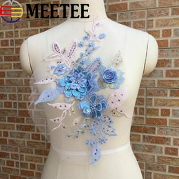 Wholesale lace trim patch for sale - Group buy Fashion Sequins Beaded Lace Applique Embroidered Rhinestones Trims for Costume Wedding Evening Dress DIY Flower Patches